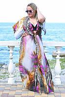Женская пляжная шифоновая туника больших размером 50 узоров Палитра 1 цветов, принтом, тёмно-синий