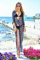 Крутая летняя пляжная туника накидка из французского гипюра темно-синяя, синяя Темно-синего цвет