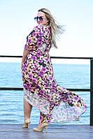 Женская пляжная шифоновая туника больших размером 50 узоров Палитра 7 цветочный, малиновый, синий