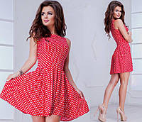 Летнее платье  в горошек 220 - нв сзади змейка  синее и розовое в средний мелкий горошек