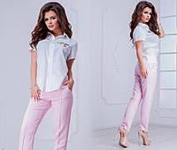 Комплект летний брюки и рубашка  короткий рукав летние классные брюки в приталенные розовые желтые