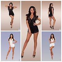 Женский гипюровый комбинезон Боди костюм с короткими шортами сексуальный  черный и белый