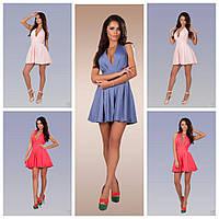 Платье сарафан короткий, до середины бедра, без рукавов, пудра, розовый, синенький
