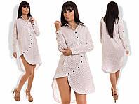Платье-рубашка  ассиметричное летнее коротенькое белое коттон хлопок
