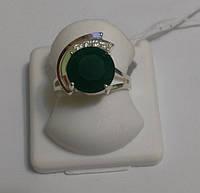 Кольцо серебряное с золотом и и зеленым камнем Зоряна