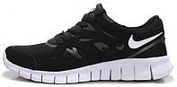 Мужские беговые кроссовки Nike Free Run Plus 2 Sport Black/White (найк фри ран) черные