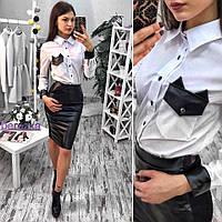 Костюм модный рубашка с длинным рукавом и юбка карандаш Ks515