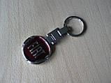 Брелок подарочный металлический Fiat логотип эмблема Фиат автомобильный на авто ключи красный круглый, фото 2