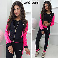 Женский спортивный фитнес костюм тройка брюки топ кофта куртка с карманами чёрный с малиновым S M L