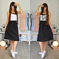 Костюм женский модный майка шелк и пышная юбка миди разные расцветки Ks516