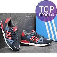 Мужские кроссовки ADIDAS ZX 750, замша + плотная сетка / кроссовки мужские АДИДАС ЗХ 750, синие с красным