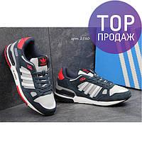 Мужские кроссовки ADIDAS ZX 750, замша + плотная сетка / кроссовки мужские АДИДАС ЗХ 750, темно синие с серым