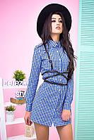 Платье-рубашка в клетку разные цвета SMs571