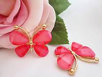 "Клеевой декор ""Бабочка"", 30х23 мм, цвет ярко-розовый"