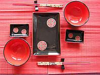 """Набор для суши на две персоны """"Монетки 1"""", черный"""