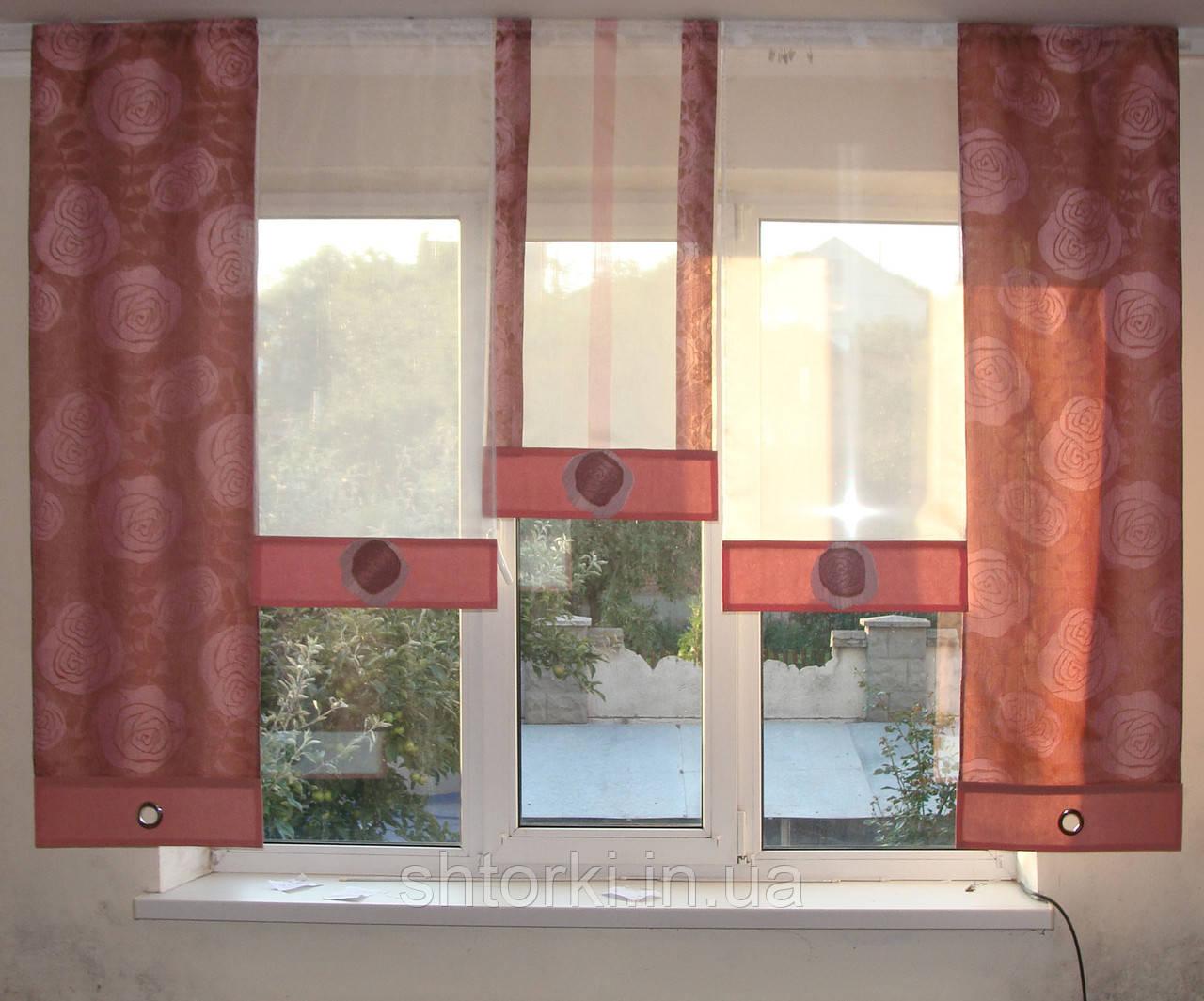 Комплект панельных шторок розы розовые, 2м