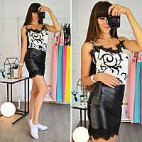 Костюм женский модный майка шелк и юбка мини эко кожа с кружевом разные цвета Ks518