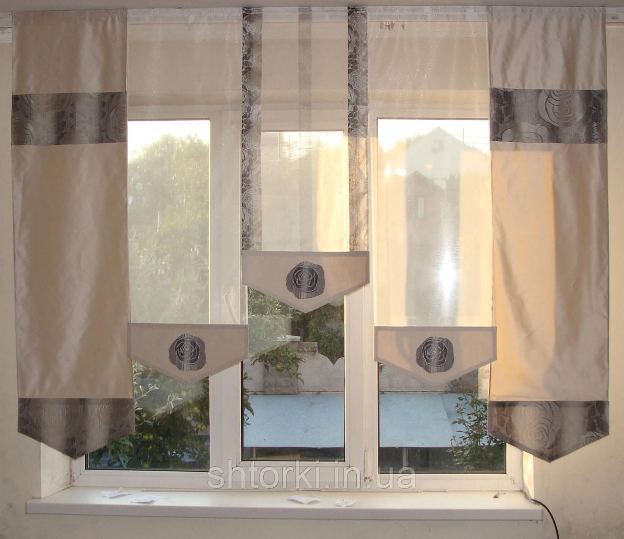 Комплект панельних шторок троянди сірі, 2м