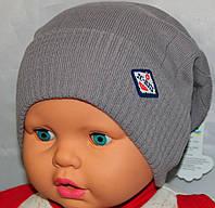 Вязанная шапочка-ранетка с отворотом 52-54. Коттон