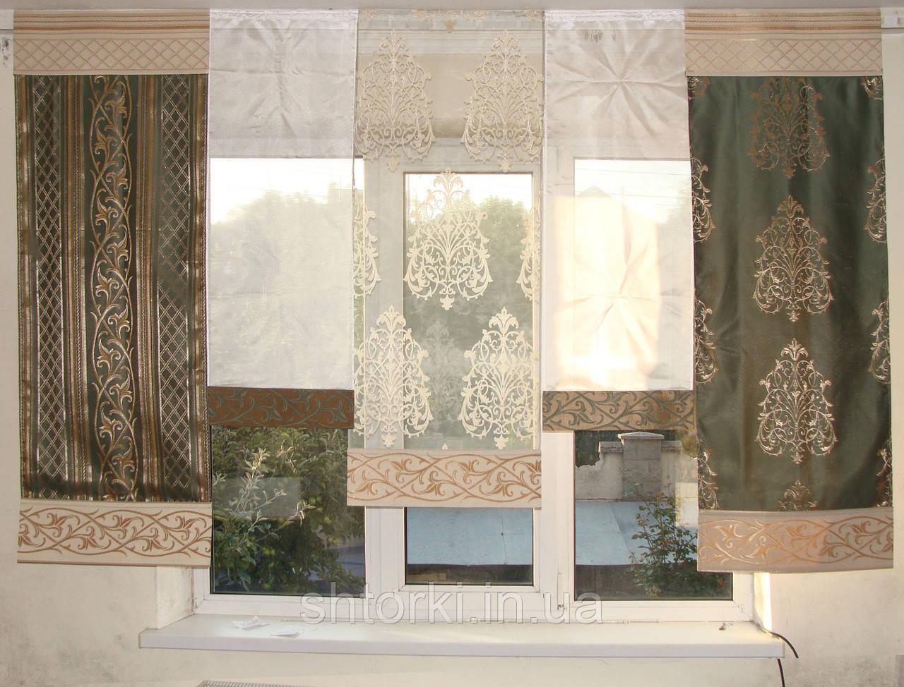 Комплект панельных шторок короны зеленые, 2м