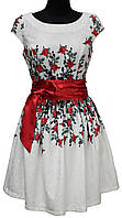 Белое нарядное платье под пояс, розы, размеры 36, 38, 40, Турция, фото 1