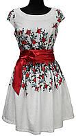 Белое нарядное платье под пояс, розы, размеры 36, 38, 40, Турция