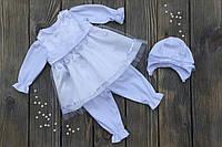 """Нарядный комплект с платьем на крещение или выписку """"Адель"""" с шапочкой (Little Angel)"""