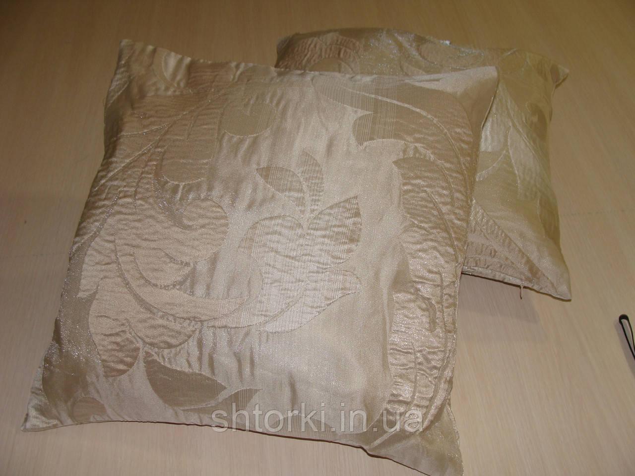 Комплект подушек бежевые с завитками,  2 шт 40*40см