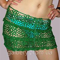 """Вязаная юбочка с ажурными принтами""""фестоны"""" ручной работы зеленого цвета"""