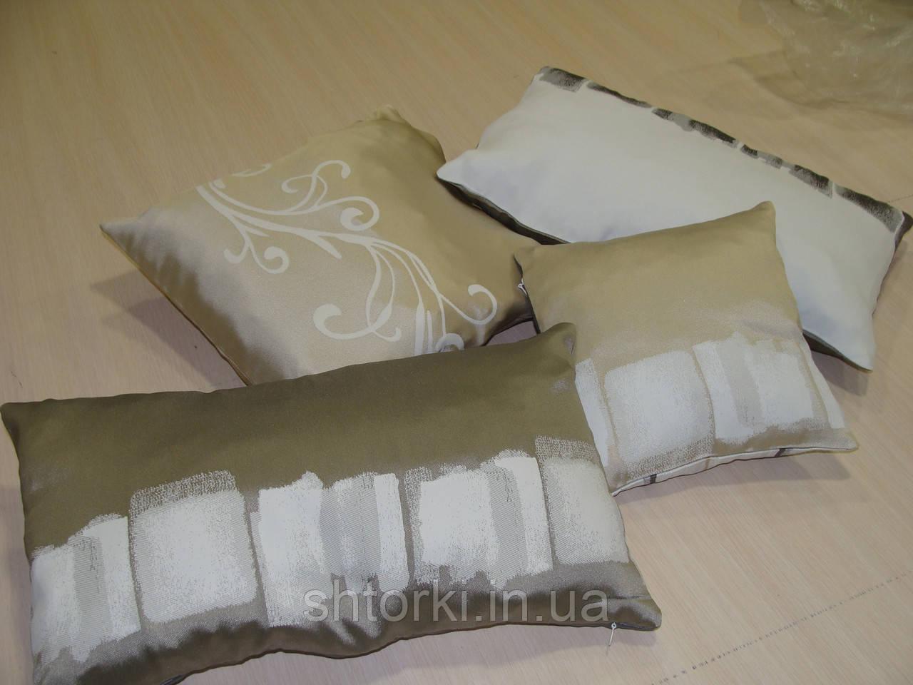 Комплект подушек бежевые с молочным, 4 шт