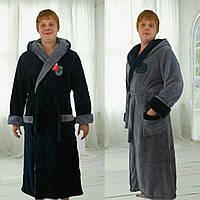 Мужской халат махровый № 00601 Баталл (рош)