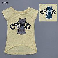 "Летняя туника ""Кошка"" для девочки. Двусторонние пайетки. 140 см, фото 1"