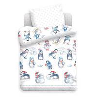 Комплект детского постельного белья ПИНГВИНЫ, ткань  поплин