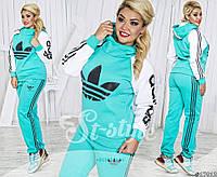 Утепленный костюм спортивный женский в батальных больших размерах лого Адидас