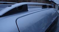 Рейлинги Hyundai H200 1997-2007 (серебристые, на клей) Skyport сплошной алюминий
