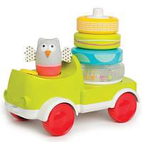 Развивающая машинка с пирамидкой Совушка-Малышка два в одном, Taf Toys