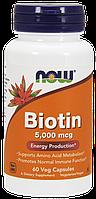 БАД Биотин, Biotin, Now Foods, 5000 мкг, 60 капсул