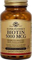 БАД Биотин, Biotin, Solgar, 5000 мкг, 100 капсул