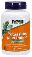 БАД Йодид калия, Potassium Plus Iodine, Now Foods, 225 мкг, 180 таблеток