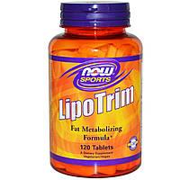 БАД Липотропный фактор, Lipo Trim, Now Foods, Sports, 120 табл.