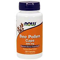 БАД Пчелиная пыльца, перга, Bee Pollen, Now Foods, 500 мг, 100 капсул