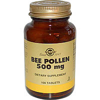 БАД Пчелиная пыльца, Перга, Bee Pollen, Solgar, 500 мг, 100 таблеток