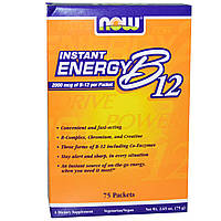 БАД Витамин В12 метил, Instant Energy B12, Now Foods, 2000 мкг, 75 пакетов по 1 г