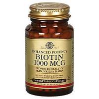 БАД Биотин, Biotin, Solgar, 1000 мкг, 50 капсул