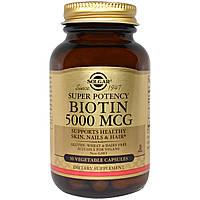 БАД Биотин, Biotin, Solgar, 5000 мкг, 50 капсул