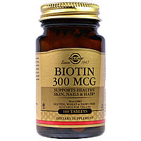 БАД Биотин, Biotin, Solgar, 300 мкг, 100 таблеток