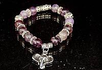Браслет из аметиста фиолетовый с подвеской слон, фото 1