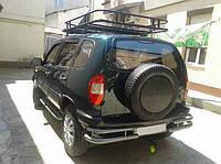 Защита заднего бампера углы двойные D60\42 на Chevrolet Niva молотковые