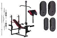 Набор Premium 128 кг со скамьей с тягой и партой HS