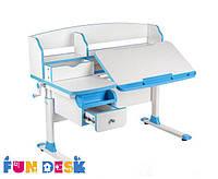 Растущий стол-трансформер с надстройкой и ящиком для детей от 4 до 16 лет 120х65 см ТМ FunDesk Голубой Sognare Blue